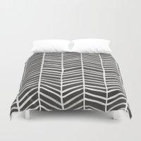 herringbone Duvet Covers featuring Herringbone – Black & White by Cat Coquillette