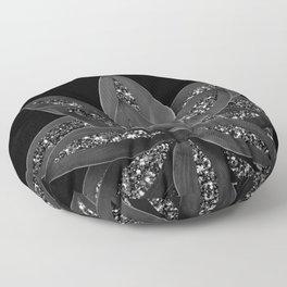 Gray Black Agave with Black Silver Glitter #2 #shiny #tropical #decor #art #society6 Floor Pillow