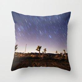 Joshua Tree Star Trails Throw Pillow