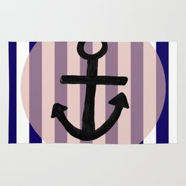 Nautical Anchor Blue White And Pink Rug