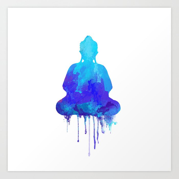 Watercolor Zen Buddha Blue Art Print By Thubakabra Society6