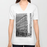 building V-neck T-shirts featuring BUILDING by Stephanie Bosworth