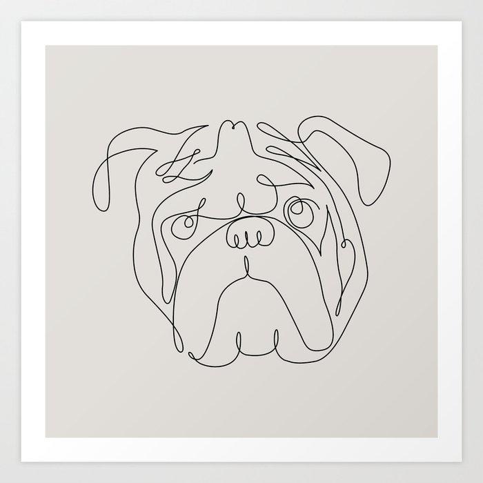 One Line English Bulldog Kunstdrucke