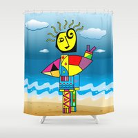 surfer Shower Curtains featuring Surfer by Moisés Ferreira