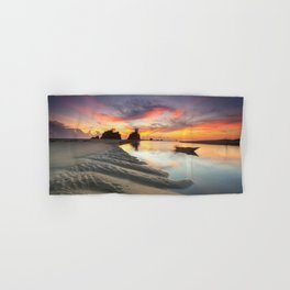 Canoe on the Water at Sunset Hand & Bath Towel