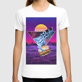 Aesthetic Synthwave Leopard Gecko Burger T-shirt