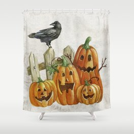 Pumpkins and Crow Shower Curtain