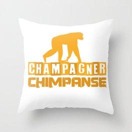 Monkey Chimpanzee Champagne Binge Alcohol Gift Throw Pillow