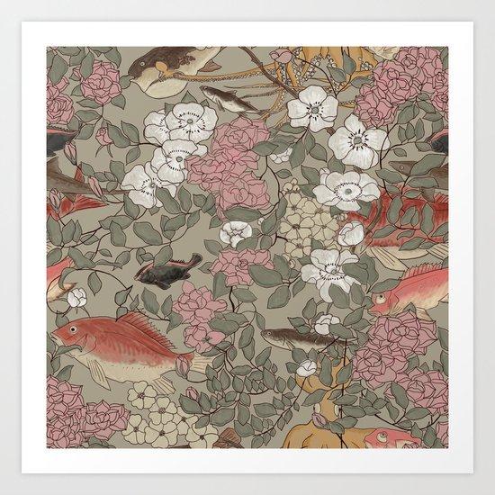 Fishes & Flowers - Seamless pattern Art Print