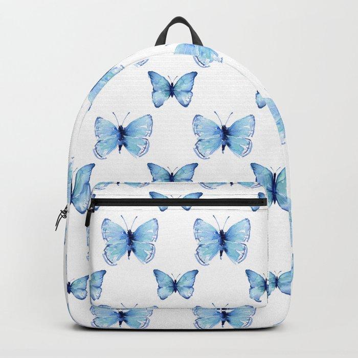 Blue Butterflies Pattern Butterfly Watercolor Rucksack