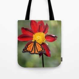 Monarch Butterfly on Red Flower Tote Bag