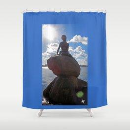 Little Mermaid Backlight Copenhagen Denmark Photograph Shower Curtain