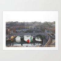 Traffic Along The Tiber  Art Print