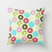 donut Throw Pillows featuring Donut by Charlotte Lucy