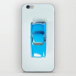 Vintage Blue Car on White iPhone Skin