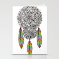 dream catcher Stationery Cards featuring Dream Catcher by Luna Portnoi