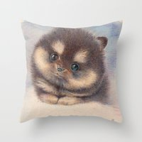 pomeranian Throw Pillows featuring Pomeranian by irshi