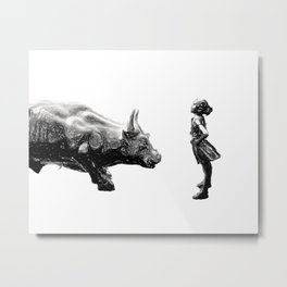 Feminist fearless girl charging wall street bull, Be Fearless Metal Print