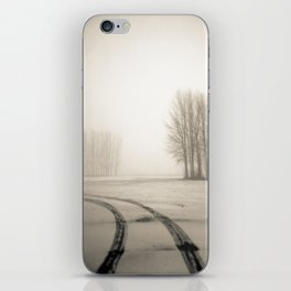 Tyre tracks in snow iPhone Skin