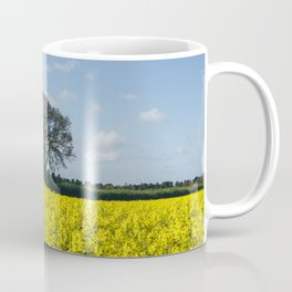 Field of Rapeseed (Canola) and tree against a sunlit blue sky. Norfolk, UK. Coffee Mug