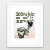 shakespeare Framed Art Prints featuring Zombie + Shakespeare by Stephane Lauzon