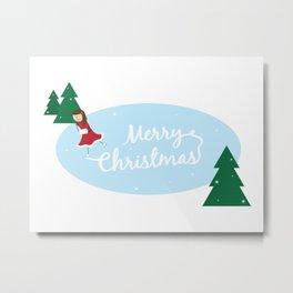 Merry Christmas Ice Skater Metal Print
