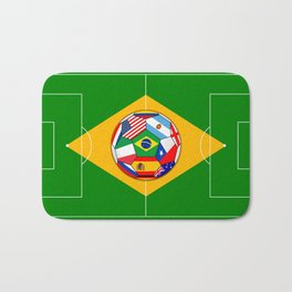 football field and ball with flags Bath Mat