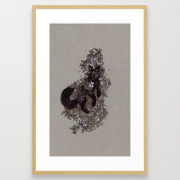 Black Fox and Star Flower Jasmine Tangle Framed Art Print