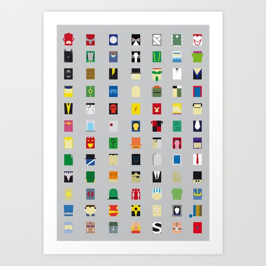 Minimalism Villains Art Print
