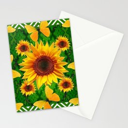 Green Yellow Butterflies Sunflowers Flowers  Art Stationery Cards
