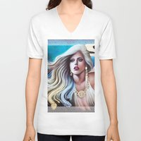 versace V-neck T-shirts featuring VERSACE GODDESS by CARLOSGZZ