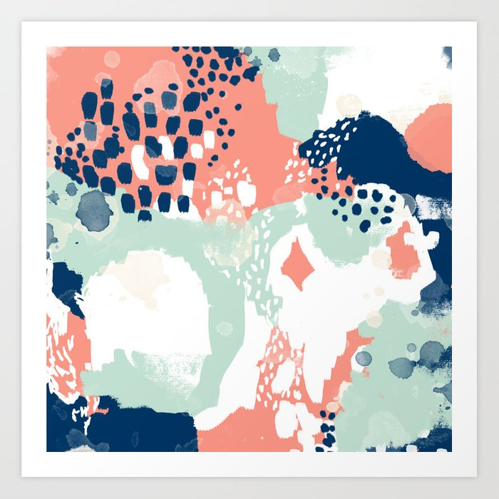 Kayl Abstract Painting Minimal Coral Mint Navy Color Palette Boho Hipster Decor Nursery Art Print By Charlottewinter