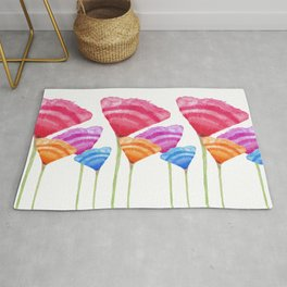 Abstract Hand Painted Colorful Long Stem Flowers Rug