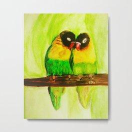 Lovebirds in love watercolorpainting Metal Print