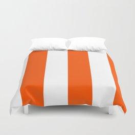 Wide Vertical Stripes - White and Dark Orange Duvet Cover