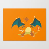 charizard Canvas Prints featuring Charizard by Rebekhaart