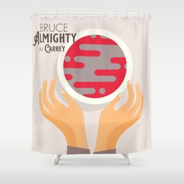 Bruce Almighty, alternative movie poster, Jim Carrey film, Morgan Freeman, Jennifer Aniston, Carell Shower Curtain