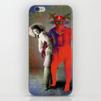 wrestling iPhone & iPod Skins featuring WRESTLING WITH HER DEMON by Julia Lillard Art