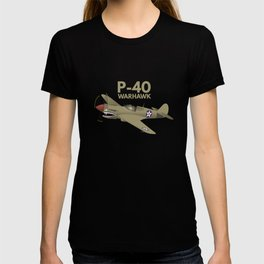 WW2 P-40 Warhawk Airplane T-shirt