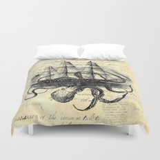 Kraken Octopus Attacking Ship Multi Collage Background Duvet Cover