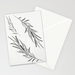 Eucalyptus leaves black and white Stationery Cards