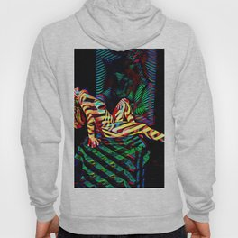 1911s-MS Colorful Abstract Art Nude Seated Hair Hanging Down Hoody