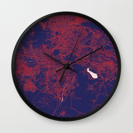 Kabul, Afghanistan, Blue, White, City, Map Wall Clock