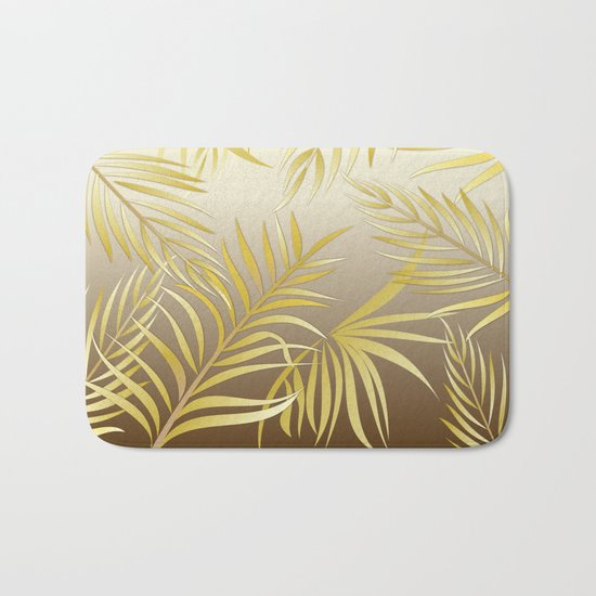 Golden palm leaves Bath Mat