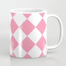 Large Diamonds - White and Flamingo Pink Coffee Mug