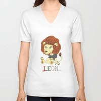 leon V-neck T-shirts featuring Leon by eva vasari