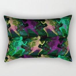 Watercolor women runner pattern on Dark Background Rectangular Pillow
