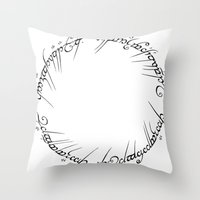 lotr Throw Pillows featuring The One Ring (Inscription) by eeyebrows