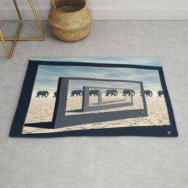 Surreal Elephant Desert Scene Rug