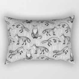 Fox pattern drawing foxes cute andrea lauren grey forest animals woodland nursery Rectangular Pillow